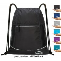Venture Pal Packable Sport Gym Drawstring Sackpack Backpack Bag with Wet Pocket for Men,Women(Black)